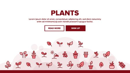 Plants Landing Web Page Header Banner Template Vector. House Plants, Gardening And Leaves Assortment Linear Pictograms. Nature Decoration And Tree Bunch Illustration