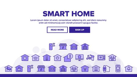 Smart Home Landing Web Page Header Banner Template Vector. Control, Camera, Light Settings And Humidity Smart House Device Linear Pictograms. Automation Monitoring Illustration
