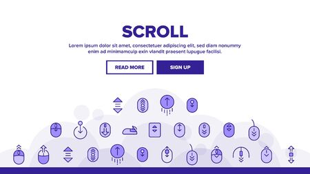 Scroll Landing Web Page Header Banner Template Vector. Computer Mouse Device And Web Site Page Up And Down Scroll Linear Pictograms. Interface Illustration Ilustrace