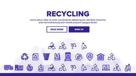 Recycling Landing Web Page Header Banner Template Vector. Recycling Sign On Location GPS Mark And File, Waste Basket And Laptop Monitor Linear Pictograms. Dumptruck Illustration Illustration