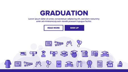 Graduation Landing Web Page Header Banner Template Vector. Certificate And Diploma, School, College Or University Graduation Illustration