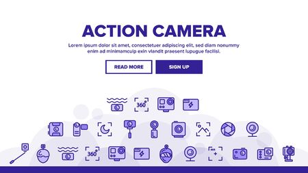 Action Camera Landing Web Page Header Banner Template Vector. Types Of Camera Linear Pictograms. Device Stick And Object Glass, Recording Mode And Watertight Housing Illustration Illustration