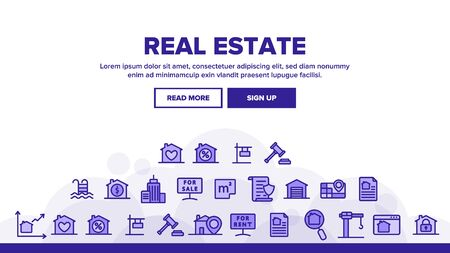 Real Estate Landing Web Page Header Banner Template Vector. Building And House, Map And Plan, Garage And Swimming Pool Real Estate Concept Illustration