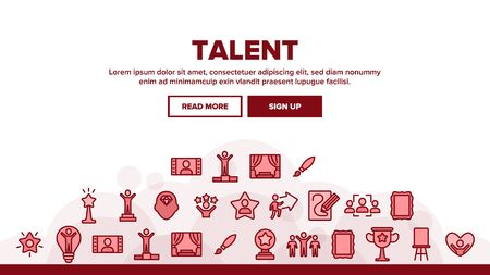 Different Human Talent Landing Web Page Header Banner Template Vector. Man Silhouette On Tribune And In Lamp Bulb, With Stars And Arrow, Pencil Draw Picture Illustration