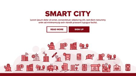 Smart City Landing Web Page Header Banner Template Vector. Intelligence Town Control And Security, Smart Navigation And Direction on Smartphone Illustration  イラスト・ベクター素材