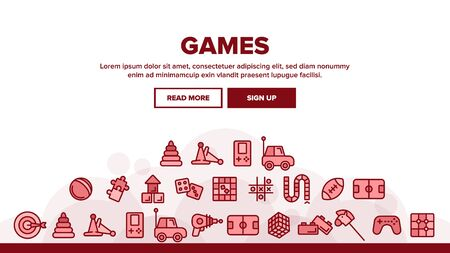 Interactive Kids Games Landing Web Page Header Banner Template Vector. Video Games Controller And Rugby Football Ball, Ray Gun And Car Toy Linear Pictograms. Tetris And Darts Illustration