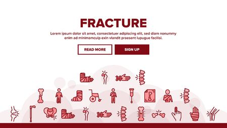 Fracture Landing Web Page Header Banner Template Vector. Gypsum Foot And Hand Arm Crutch, Bones Fracture Linear Pictograms. Medicine Details Illustration Иллюстрация