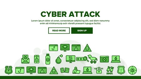 Cyber Attack Landing Web Page Header Banner Template Vector. Virus In Email Message And Malware, Infected Flash Drive And Smartphone Ddos Attack Illustration
