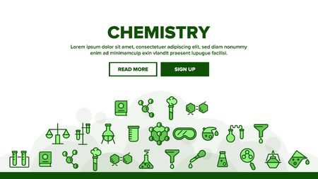 Chemistry Landing Web Page Header Banner Template Vector. Flask And Spirit Lamp, Pipette And Can, Glasses And Magnifier Chemistry Equipment Illustration 일러스트