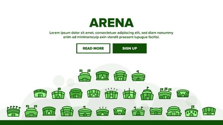 Arena Buildings Landing Web Page Header Banner Template Vector. Different Exterior Architecture Of Arena Stadium Linear Pictograms. Complex For Championship Games Illustration Illustration
