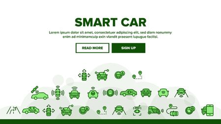 Smart Car Landing Web Page Header Banner Template Vector. Intelligence Control And Security, Network Navigation And Autopilot Smart Car Devices Illustration  イラスト・ベクター素材