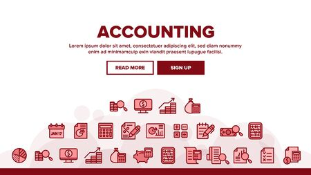 Accounting Landing Web Page Header Banner Template Vector. Magnifier With Money Bank Note And Report Or Register List, Coin On Monitor Accounting Illustration