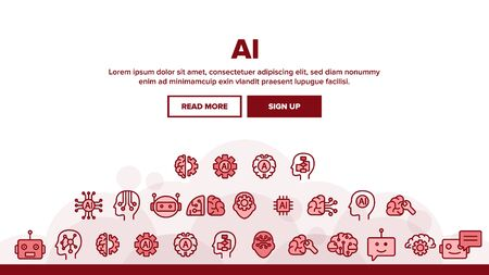 Artificial Intelligence Landing Web Page Header Banner Template Vector. Brain And Droid Robot, Chip And Processor Of Ai Artificial Intelligence Details Illustration  イラスト・ベクター素材