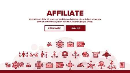 Affiliate Landing Web Page Header Banner Template Vector. Affiliate Marketing And Business, Management And Finance, Strategy And Planning Illustration  イラスト・ベクター素材