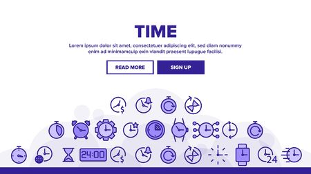 Time Clock Landing Web Page Header Banner Template Vector. Hourglass And Watch, Alarm-clock And Electronic Digital Clock Concept Illustration
