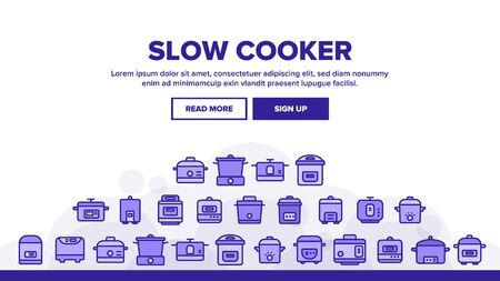 Slow Cooker Landing Web Page Header Banner Template Vector. Different Cooker Kitchenware Concept Linear Pictograms. Modern Cooking Food Equipment And Gadgets Concept Illustration