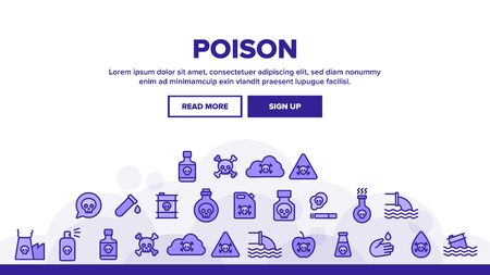 Chemical Toxic Poison Landing Web Page Header Banner Template Vector. Toxic In Barrel, Poisonous Water, Substance In Flask, Skull With Bones Concept Illustration  イラスト・ベクター素材