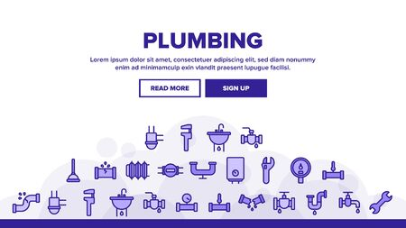 Plumbing Fixtures Landing Web Page Header Banner Template Vector. Faucet And Mixer, Valve And Sink, Pipe Tube And Tools Plumbing Fixtures Concept Illustration