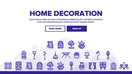 Home Decoration Landing Web Page Header Banner Template Vector. Chandelier And Lamp Lighting Equipment House Decoration Illustration 일러스트