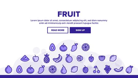 Nature Fruit Landing Web Page Header Banner Template Vector. Pineapple And Apple, Strawberry And Grape, Cherry And Lemon Delicious Fruit Illustration