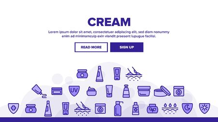 Healthy Cream Landing Web Page Header Banner Template Vector. Healthcare Cream In Tube And Container Concept Linear Pictograms. Day And Night Skin Protection Illustration