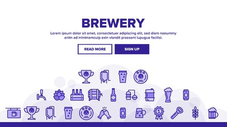 Beer Brewery Landing Web Page Header Banner Template Vector. Alcohol Foam Drink Brewery Concept Linear Pictograms. Barrel And Bottle, Faucet And Keg Illustration  イラスト・ベクター素材