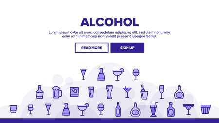 Alcohol Landing Web Page Header Banner Template Vector. Alcohol Beverage In Glass And Bottle Concept Linear Pictograms. Beer And Champagne, Wine And Whiskey Illustration  イラスト・ベクター素材