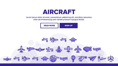 Aircraft Landing Web Page Header Banner Template Vector. Aircraft Commercial Air Transportation And Shipping Concept Linear Pictograms. Airplane And Helicopter Illustration