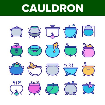 Cauldron Collection Elements Icons Set Vector Thin Line. Cauldron On Flame Campfire And With Bubbles, With Foam And Witch Hat Concept Linear Pictograms. Color Illustrations