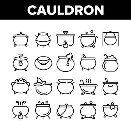 Cauldron Collection Elements Icons Set Vector Thin Line. Cauldron On Flame Campfire And With Bubbles, With Foam And Witch Hat Concept Linear Pictograms. Monochrome Contour Illustrations