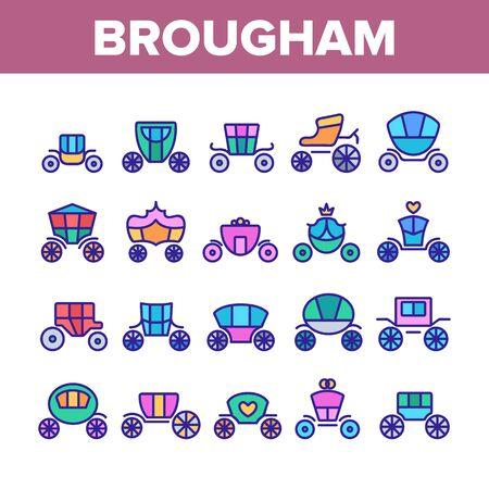 Brougham elementi di raccolta set di icone linea sottile di vettore. Classica carrozza antica e carrozza di eleganza, pittogrammi lineari di lusso Brougham Princess Transport Concept. Illustrazioni a colori Vettoriali