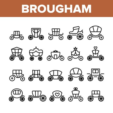 Brougham Collection Elements Icons Set Vector Thin Line. Classical Antique Coach And Elegance Carriage, Luxury Brougham Princess Transport Concept Linear Pictograms. Monochrome Contour Illustrations