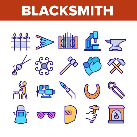 Blacksmith Collection Elements Icons Set Vector Thin Line. Wrought Fence And Gate, Railing And Signboard, Glasses And Gloves, Blacksmith Concept Linear Pictograms. Color Illustrations