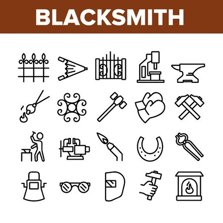 Blacksmith Collection Elements Icons Set Vector Thin Line. Wrought Fence And Gate, Railing And Signboard, Glasses And Gloves, Blacksmith Concept Linear Pictograms. Monochrome Contour Illustrations