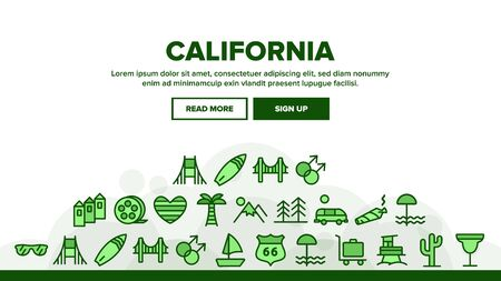 California Landing Web Page Header Banner Template Vector. Mountain And Palm Forest, Cactus And Bridge, Van And Glasses, California Illustration