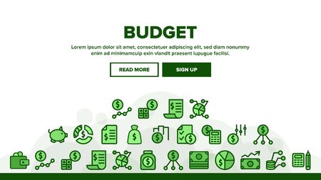 Budget Audit Landing Web Page Header Banner Template Vector. Dollar And Coin, Accounting Budget Report And Analysis, Wallet And Calculator Illustration  イラスト・ベクター素材