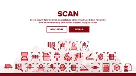 Scan Reading Landing Web Page Header Banner Template Vector. Finger And Hand Scan App, Face And Document Scanning Technology Illustration