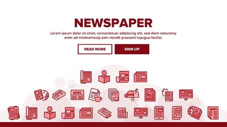 Newspaper Landing Web Page Header Banner Template Vector. Human Silhouette Reading Newspaper, World News And Press Article Illustration