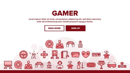Gamer Device Landing Web Page Header Banner Template Vector. Gamer Silhouette With Earphones, Joystick And Video Game Equipment Illustration