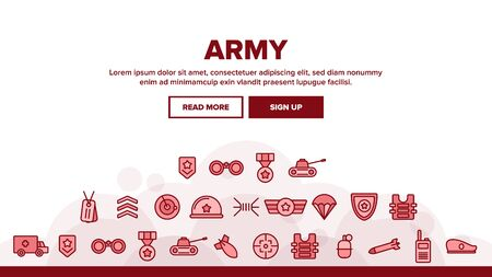 Army Military Landing Web Page Header Banner Template Vector. Medal And Shield, Truck And Tank, Target And Bomb, Radar And Parachute Army Illustration