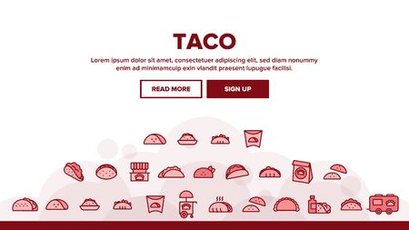 Taco Burrito Landing Web Page Header Banner Template Vector. Cafe On Wheel And Cart, Package And Cardboard Pack Mexican Lunch Food Illustration Ilustração