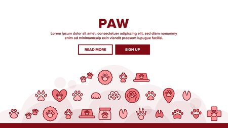 Paw Animal Landing Web Page Header Banner Template Vector. Cat And Dog, Horse And Pig, Elephant And Bear Paw In Heart Form And Laptop Screen Illustration Foto de archivo - 133684850