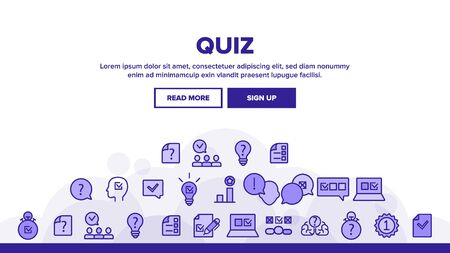 Quiz Game Landing Web Page Header Banner Template Vector. Question And Answer, Questionnaire And Information, Quiz Test And Think Illustration