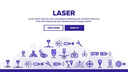 Laser Beam Landing Web Page Header Banner Template Vector. Optical Equipment And Technology Laser, Eye Protective Glasses And Target Illustration