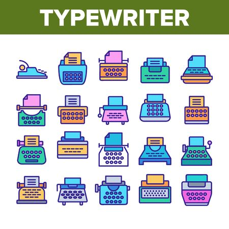 Typewriter Collection Elements Icons Set Vector Thin Line. Retro And Ancient Typewriter Machine For Writer Concept Linear Pictograms. Vintage Technology Color Illustrations