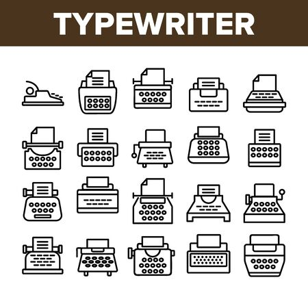 Typewriter Collection Elements Icons Set Vector Thin Line. Retro And Ancient Typewriter Machine For Writer Concept Linear Pictograms. Vintage Technology Monochrome Contour Illustrations  イラスト・ベクター素材