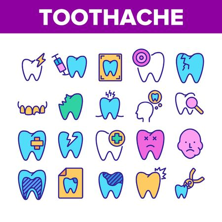 Toothache Collection Elements Icons Set Vector Thin Line. Dental Toothache And Caries, Enamel Damaged And Tooth Lost, Mouth Hygiene Concept Linear Pictograms. Color Illustrations