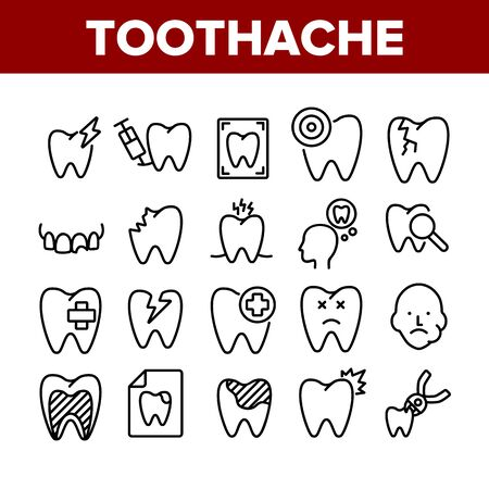 Toothache Collection Elements Icons Set Vector Thin Line. Dental Toothache And Caries, Enamel Damaged And Tooth Lost, Mouth Hygiene Concept Linear Pictograms. Monochrome Contour Illustrations Illustration