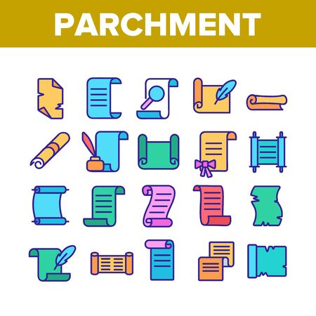 Parchment Collection Elements Icons Set Vector Thin Line. Parchment And Scrolls, Education Diploma And Magic Paper With Feather Concept Linear Pictograms. Color Illustrations  イラスト・ベクター素材