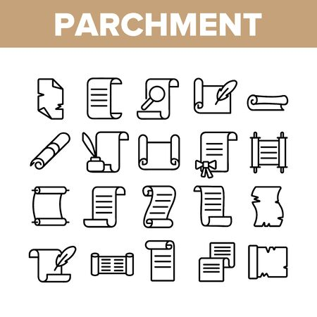 Parchment Collection Elements Icons Set Vector Thin Line. Parchment And Scrolls, Education Diploma And Magic Paper With Feather Concept Linear Pictograms. Monochrome Contour Illustrations